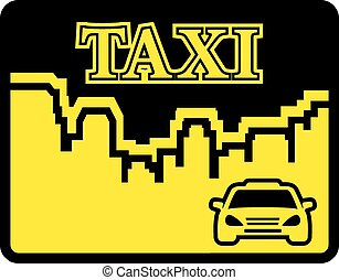 yellow taxi icon on flat design style with urban landscape
