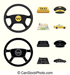 Yellow taxi inscription, a cap with a taxi badge, a map with a mark, a car with checkers. Taxi set collection icons in cartoon,black style vector symbol stock illustration web.