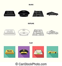 Yellow taxi inscription, a cap with a taxi badge, a map with a mark, a car with checkers. Taxi set collection icons in black,flat,outline style vector symbol stock illustration web.