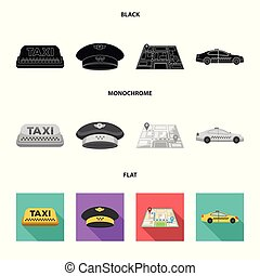 Yellow taxi inscription, a cap with a taxi badge, a map with a mark, a car with checkers. Taxi set collection icons in black, flat, monochrome style vector symbol stock illustration web.