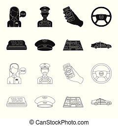 Yellow taxi inscription, a cap with a taxi badge, a map with a mark, a car with checkers. Taxi set collection icons in black,outline style vector symbol stock illustration web.