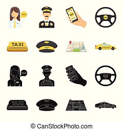 Yellow taxi inscription, a cap with a taxi badge, a map with a mark, a car with checkers. Taxi set collection icons in black,cartoon style vector symbol stock illustration web.