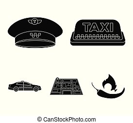 Yellow taxi inscription, a cap with a taxi badge, a map with a mark, a car with checkers. Taxi set collection icons in black style vector symbol stock illustration web.