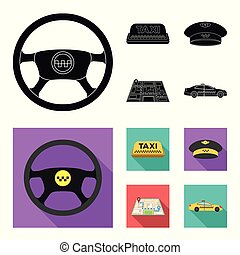 Yellow taxi inscription, a cap with a taxi badge, a map with a mark, a car with checkers. Taxi set collection icons in black,flat style vector symbol stock illustration web.
