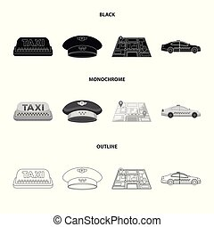 Yellow taxi inscription, a cap with a taxi badge, a map with a mark, a car with checkers. Taxi set collection icons in black,monochrome,outline style vector symbol stock illustration web.