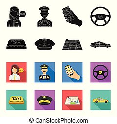 Yellow taxi inscription, a cap with a taxi badge, a map with a mark, a car with checkers. Taxi set collection icons in black,flet style vector symbol stock illustration web.