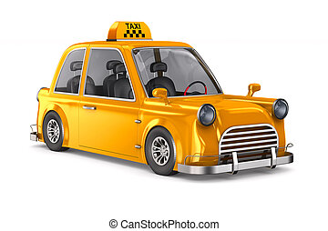 Yellow taxi on white background. Isolated 3D illustration