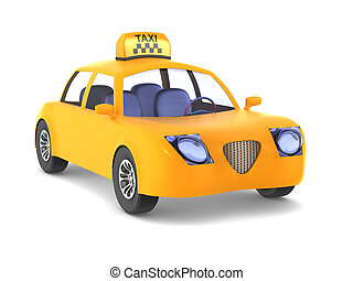 Yellow taxi on white background. Isolated 3D image