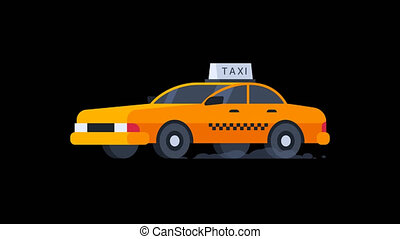 Yellow Taxi Rides. Transparent Background. Motion Graphics. Animation Video.