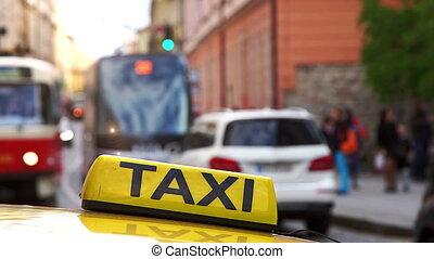 Yellow taxi symbol closeup