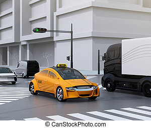 Yellow taxi, truck, delivery van at the crossroads