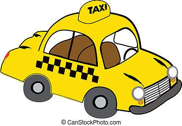 Yellow taxi illustration on white