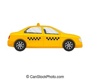 Yellow taxi. Vector illustration on a white background.