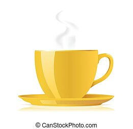 yellow tea cup on white. vector illustration