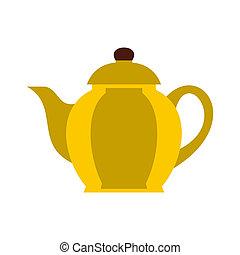 Yellow teapot icon, flat style
