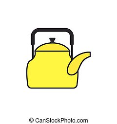 Yellow teapot. Tableware for boiling water. Icon kitchenware. Vector illustration