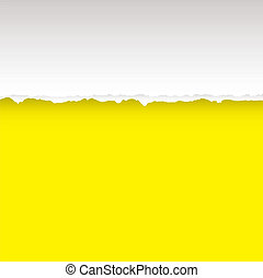Yellow paper background with torn edge and copy space
