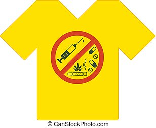 Yellow tee shirt. No drugs allowed. Drugs, marijuana leaf with forbidden sign - no drug. Drugs icon in prohibition red circle. Anti drugs. Just say no. Tshirt template, tshirt design, model. Vector.