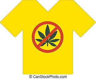 Yellow tee shirt. No drugs allowed. Marijuana leaf with forbidden sign - no drug. Drugs icon in prohibition red circle. Anti drugs. Just say no. Tshirt template, tshirt design, model. Vector.