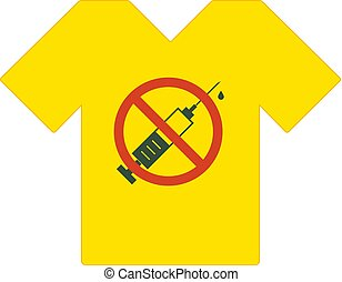Yellow tee shirt. No drugs allowed. Syringe with forbidden sign - no drug. Syringe icon in prohibition red circle. Anti drugs. Just say no. Tshirt template, tshirt design, model. Vector.