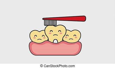 yellow teeth brushing hygiene mouth animation hd