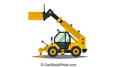 Yellow telehandler. Isolated on white background. Special equipment. Construction machine. Commercial Vehicles. Vector illustration. Flat style