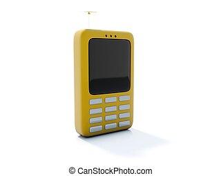 Yellow telephone icon isolated on white