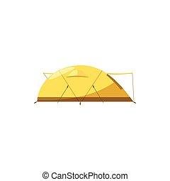 Yellow tent icon, cartoon style