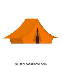 Yellow tent icon, flat style