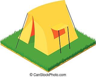 Yellow tent icon, isometric style