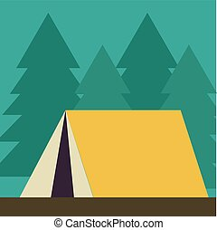 Yellow tent, illustration, vector on white background.