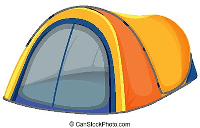 Yellow tent on white background