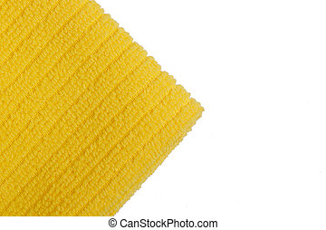 Yellow terry towel on a white background.