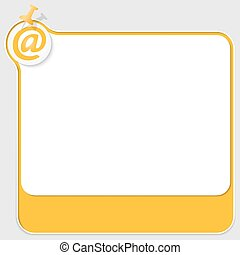 yellow text box with pushpin and email icon