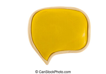 Yellow text bubble of plasticine on a white background