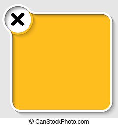 yellow text frame and ban sign