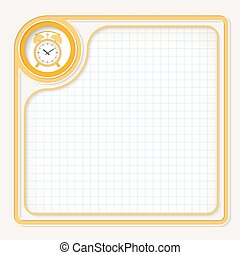 Yellow text frame for your text with graph paper and alarm clock