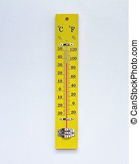 Yellow thermometer on white background.