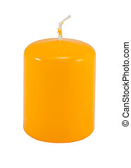 yellow thick simple wax candle wick isolated white