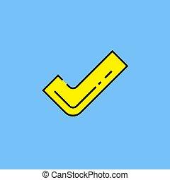 Yellow tick symbol line icon
