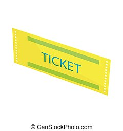 Yellow ticket icon, cartoon style