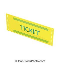Yellow ticket icon, cartoon style
