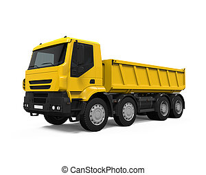 Yellow Tipper Dump Truck isolated on white background. 3D...