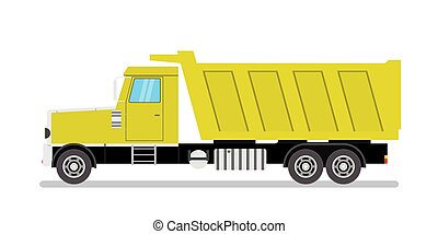 Yellow Tipper Truck Side View, isolated on white background