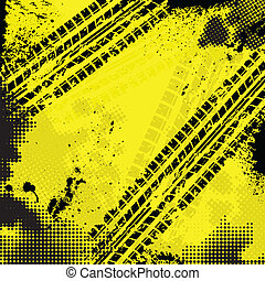 Yellow tire track background - Black tire track and halftone...