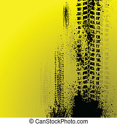 Yellow tire track - Black tire track on yellow background....