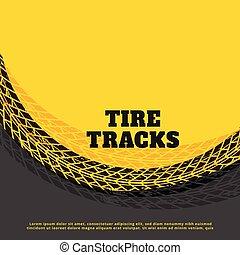 yellow tire track print mark background design
