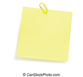 Yellow To-Do List With Paperclip, Isolated