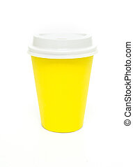 Yellow to go coffee cup