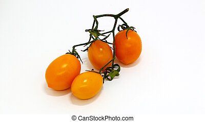 yellow tomato on white isolated background